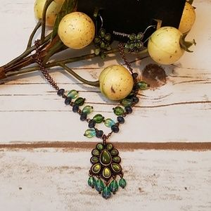 Jewelry - Green and Copper Necklace and Earring Set